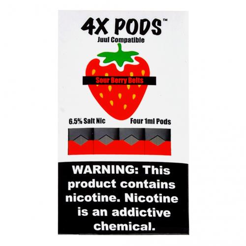Альтернативные картриджи для JUUL - 4X Pods - Sour Berry Belts 6%